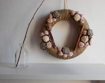 Wreath front door decoration country chic wreath fabric flowers brown soft green beige OOAK ready to ship