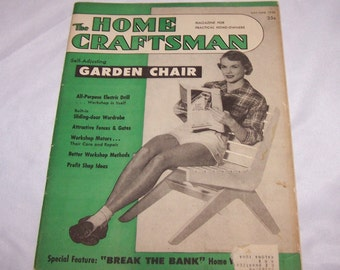 Vintage The Home Craftsman Magazine For Practical Home Owners  1950 May June GARDEN lawn chair