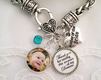 Mother of the Bride Bracelet Gift for Mother of the Groom Bracelet Mother Bridal Gift Grandmom Gift ADD Custom Message Charm for Her