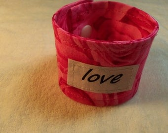 Words of Inspiration Cuff Bracelet Love in Pink Roses for Valentines Day