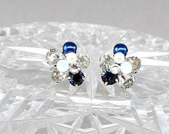 Sapphire Earrings- Navy Post Earrings- Cobalt Bridal Studs- Blue Stud Earrings- Navy Cluster Earrings-Blue Bridal Earrings-Art Deco Earrings