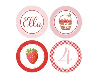 Personalized Strawberry Party Stickers (Berry Birthday Decor, Printable Party Circles, Printable Strawberry Decor, 2 inch stickers)