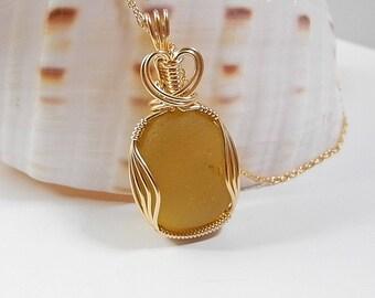 Rare Honey Yellow Seaglass Pendant, Sun Yellow Sea Glass Necklace, Authentic Sea Glass, End of Day Glass, Victorian Sea Glass, Seaham
