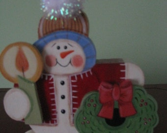 snowman, Christmas, wreath, candle, home decor, shelf sitter, wood, handpainted