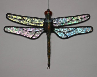 """Stained Glass DRAGONFLY Suncatcher, """"Stardust"""", Clear Iridescent Wings & Handcast Metal Body, USA Handmade Original, Dragonfly Suncatcher"""