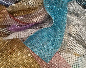 Crystal Diamante ribbon trim  OFFCUTS LARGE QTY mixed bag