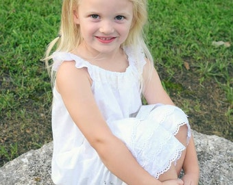 Washed Cotton Bloomers | White Cotton Bloomers | Eyelet Lace Bloomers | Ellie Ann and Lucy