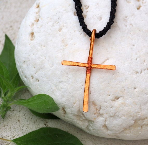 Copper Cross pendant wire necklace Orthodox crusifix spiritual jewelry faith traditional ethnic Handmade Gift for women her Christmas gifts