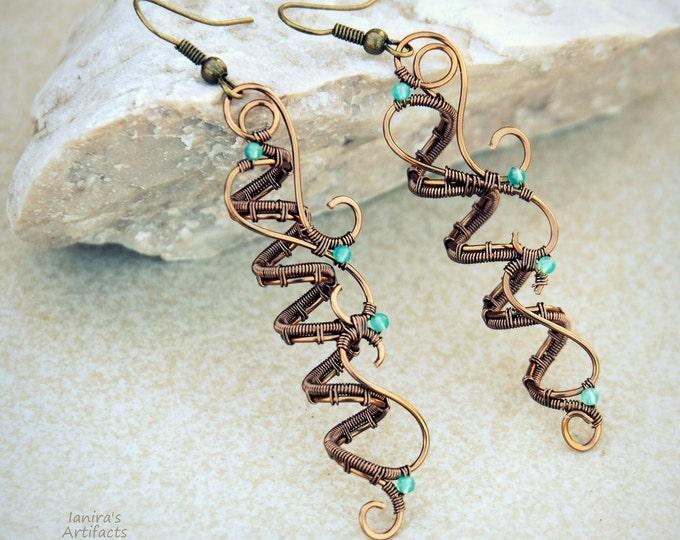 Gemstone Spiral wire wrapped earrings Grecian Aventurine dangle Gift for her Girlfriend Handmade jewelry Organic forms Artisan
