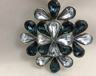 Vintage Brooch White Gold Brooch Rhinestone Brooch Antique Brooch Antique Pin Crystal Pin Blue Gemstone Pin