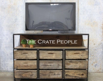 100+ yr old Barn Wood & Vintage Wood Crates | Buffet Table or TV Console -- Custom Made Crate Furniture