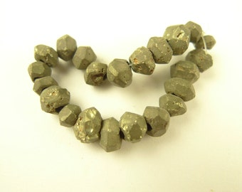 22 pcs rare handmade MARCASITE stone trade beads old tribal Africa AF-0029