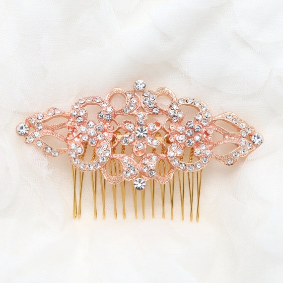 Rose Gold Hair Comb, Victorian Vintage Style Hair Comb, Bridal Hair Comb, Wedding Hair Comb, Wedding Hair Accessories, Rhinestone Headpiece