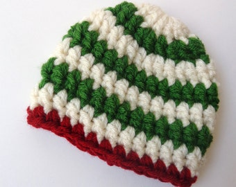 Ready to Ship Newborn Crochet Hat Christmas Hat Elf Hat Green and Red Knit Hat Baby Boy baby Girl Photo prop