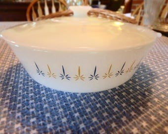 """Fire King Candle Glow Pattern 9 1/2"""" Casserole with Lid"""