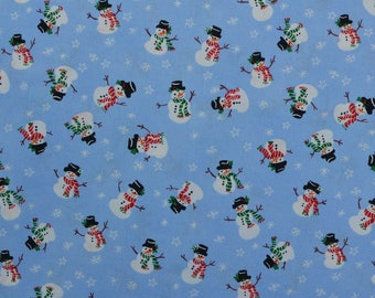 Cotton Christmas Fabric by the Yard, Blue Christmas, Snowman Fabric, Blue White Fabric, Cotton Fabric - 1 Yard - HCF2275
