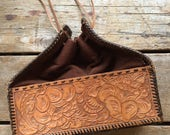 1940's Tooled Leather Floral Purse