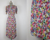 1930's Floral Bias Cut Silk Dress / Size Small
