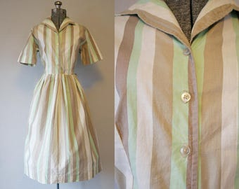1950's Stripe Mint Green Shirtwaist Dress / Size Large