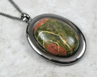 Kintsugi (kintsukuroi) unakite oval stone cabochon pendant with gold repair in gunmetal setting on curb chain - OOAK