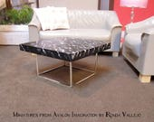 """Barbie """"marble"""" coffee table with silver metal base. Hollywood Regency, Modern miniature hand painted black"""