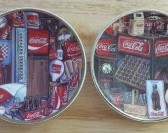 """2 Coca Cola 4 1/8"""" Mini Plates Eras of Coke #169889 & #169862 Enesco 1995 - RARE"""