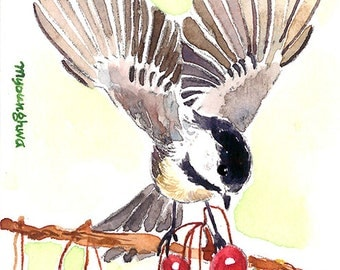 ACEO Limited Edition 2/25 - Wings, Chickadee in berries, Art print of an original ACEO watercolor, Gift for bird lovers, Backyard birds