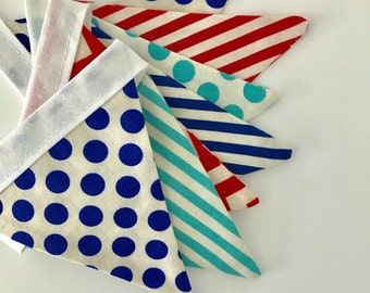 the mini jack - blue and red, chevron, stripe and spot circus fabric flag banner bunting