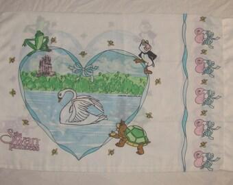 Vintage 1994 Swan Princess Twin/Standard Pillow Case - White with Castle, Odette, Jean-Bob, Puffin - Retro Cotton Pillowcase
