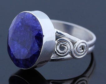 Handmade Rough Sapphire - 925 Sterling Silver - Ring Size 9 Jewelry - R139