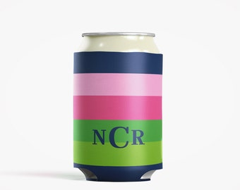Personalized Can Insulator, DIY Custom Bottle Insulated Beverage Container, Navy and Hot Pink Stripes