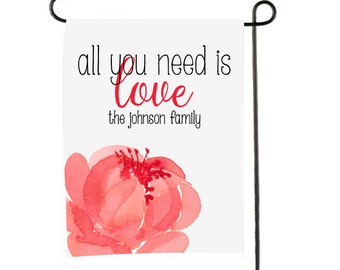 Personalized Garden Flag - Custom monogram Yard Flag All You Need is Love Valentine's Day
