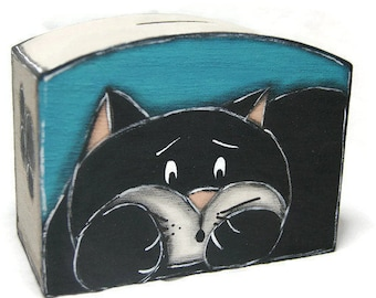 Blue coin box with black cat - Coin Bank in painted wood for coins and banknotes - Piggy bank with opening