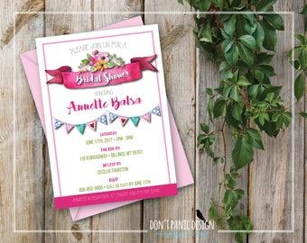 Printable Bridal Shower Invitation - Pretty Pink Banner Bridal Shower Invitation - Wild Flower Invite - Outdoor Garden Party - Custom Color
