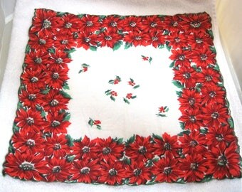 Vintage Christmas Hankie Thick Band of Poinsettias Holly Studded Center