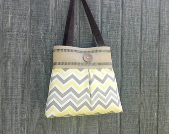 Yellow and Grey Handbag Purse Tote Bag with Jute Webbing and Brown Button