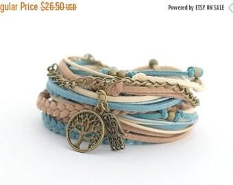 Mothers Day Tree of Life Hippie Boho Wrap Bracelet, Hamsa Hand Yoga Bracelet, Denim Brawn Caramel Bohemian Jewelry, boho chic