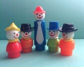 SALE-Great Vintage set of 5 Fisher Price Circus Clowns, Little People, figures, original, collectible, vintage toys, egst, Greece