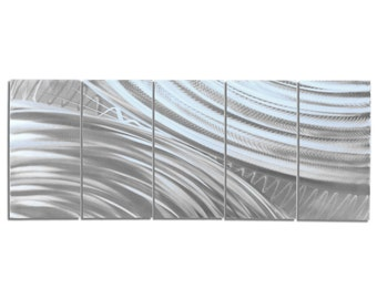 Modern Metal Art 'Moment of Impact' by Nate Halley - Abstract Artwork Silver Wall Decor on Natural Aluminum