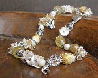 Floral Ivory Yellow Cluster Necklace, OOAK, Multi Gemstone, Extraordinary, Artisan Floral  Unique