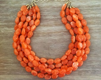 Statement Necklace Bridesmaid Jewelry JACKIE O Orange NECKLACE  Wedding Jewelry Statement Jewlery Orange Necklace