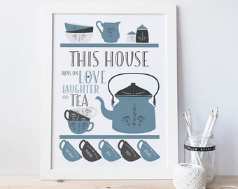 Scandi Teapot Family Tea Print - Personalised family print - housewarming gift - new home gift - tea art print - gift for mum - tea lover