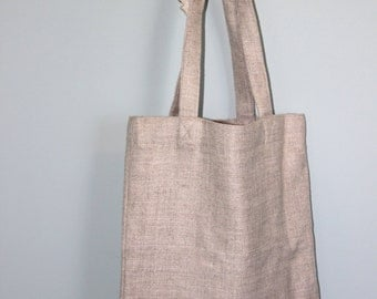 Handmade Cream Linen Tote Bag with Silk Lining in Blush