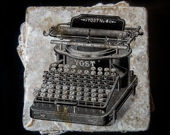 Vintage typewriter illustration coaster set **Ask for free gift wrapping and have them sent directly to the recipient!**
