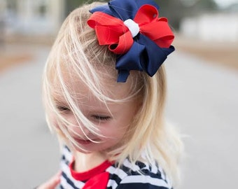 The Betsy Red White ad Blue Dress with Matching Hair Bow - Sizes 12 months,2T, 4T - Free Shipping