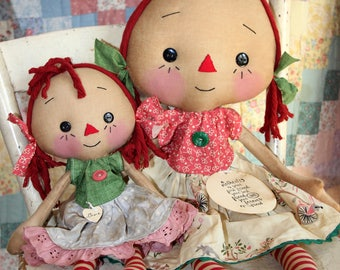 Mother's Day Mother and Daughter Emma Anne Doll Set - Primitive Raggedy Ann Dolls