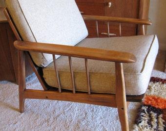 Danish Modern Scandinavian teak lounge chair Pearsall sculpted armrests restored vintage condition