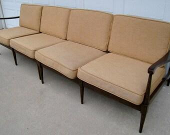 Vintage mid century Danish modern sectional sofa by Selig slatted scandinavian Kofod Larsen era original