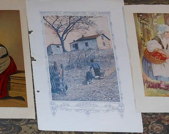 five vintage in color children's  prints ca.1890 to 1930