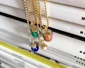 Pendentif en pierre arc / bijou boule arc ferronnerie / or 14k chaîne de remplissage ou en argent sterling / Pierre de soleil, malachite, lapis lazuli, perle